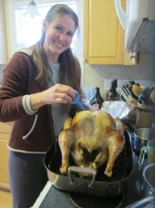 Basting the turkey - with a hospital snot sucker