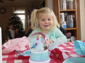She was enthralled with this Frozen snow globe. Hopefully, she doesn't break it immediately