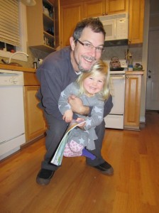 Giving Daddy birthday hugs