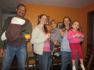 Toasting the babies with some of John's awesome cider