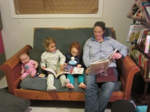 Story time with the twins and the frighteningly realistic baby doll
