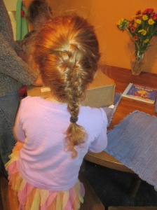 I couldn't go that many days without braiding SOMEONE'S hair!